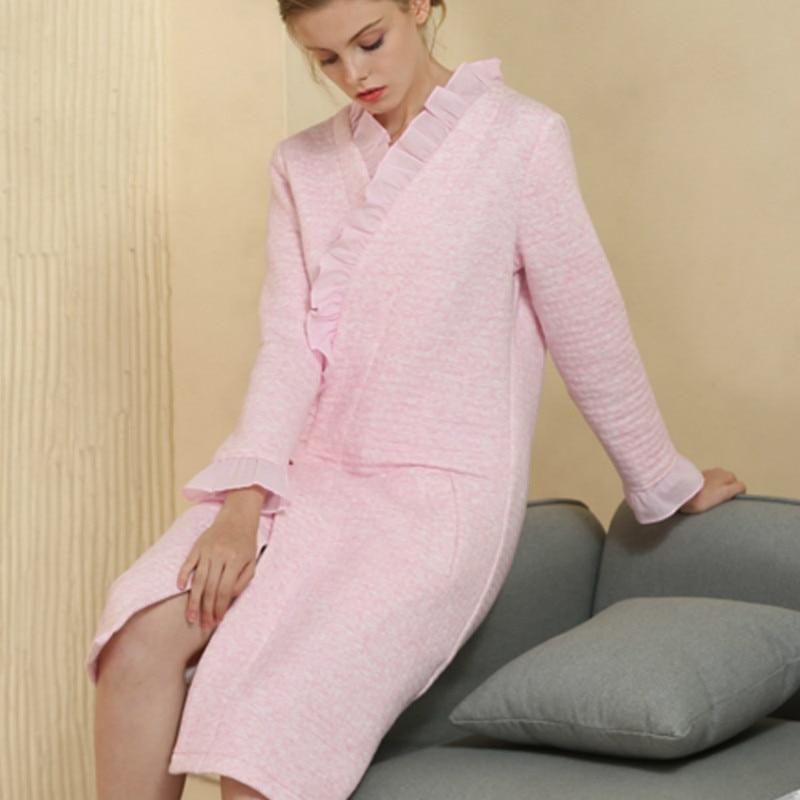 Plus Size Cotton Robe for Sleep Pregnant Women Winter Pijamas Feminino Inverno Long Sleeve Nightgown Loungewear Bathrobe CC452 недорго, оригинальная цена