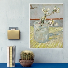Van Gogh Artwork Wall Art Canvas Print Blossoming Almond Branch in a Glass Painting for Dining Room Office Decor Customized