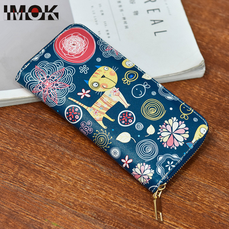 2018New Fashion Lerther Wallet For Women Lady Long Clutch Wallets Kitty Printed Female Change Purses Zipper Coin Pocket Card Hol
