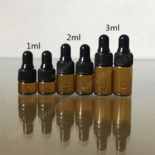 50pcs/lot 1ml,2ml,3ml Amber Glass Dropper Bottle ,Small Vials With Pipette For Cosmetic Perfume Essential Oil Bottles