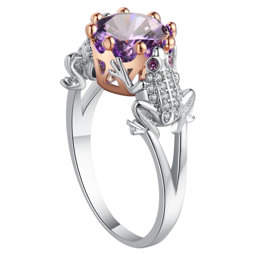UFOORO jedinečný žába princ tvar prsten okouzlující fialový kámen cz kámen stříbrná barva snubní prsten pro ženy šperky velikost 5-12