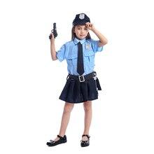 Sevimli kız küçük Cop polis memuru çalma süresi Cosplay üniforma çocuklar havalı cadılar bayramı kostüm