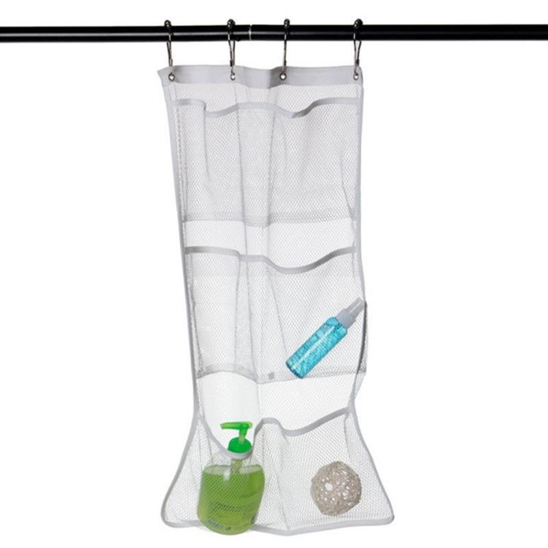 Dry Hanging Shower Hanging Mesh Organizer Bath Organizer Bag with 6 Pockets Curtain Rod Liner Hooks Curtain Shower Bags
