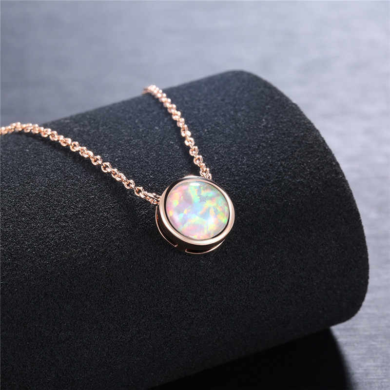ROXI Vintage Opal Stone Pendants Necklaces Fashion Rose Gold Chain Choker Necklace Statement Bohemian Jewelry for Women ketting3