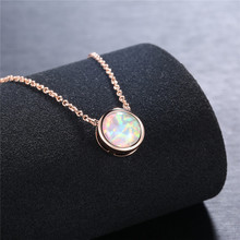 ROXI Vintage Opal Stone Pendants Necklaces Fashion Rose Gold Chain Choker Necklace Statement Bohemian Jewelry for Women ketting3 vintage faux opal floral necklace jewelry for women
