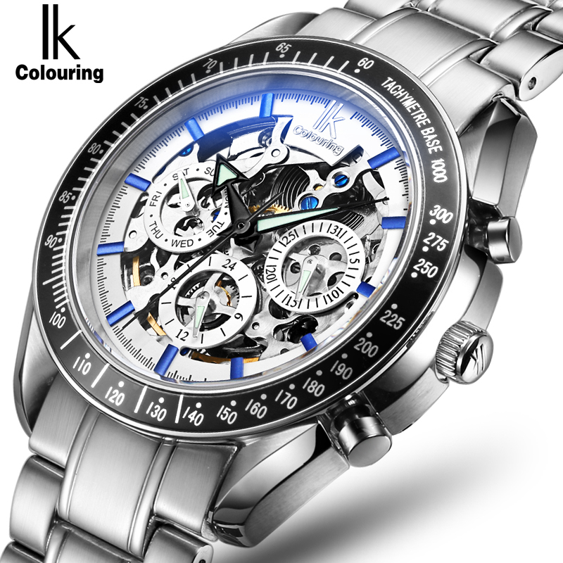 IK Brand Original Men Automatic Watch Skeleton Multifunction Dial Auto Date Day 24 Hours Stainless Steel Male Wrist ClockIK Brand Original Men Automatic Watch Skeleton Multifunction Dial Auto Date Day 24 Hours Stainless Steel Male Wrist Clock