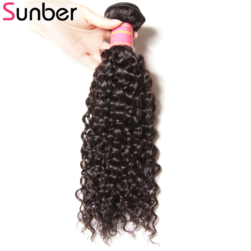 Sunber Hair 1 Piece Peruvian Curly Hair Bundle 8-26 Inch Natural Black 100% Remy Hair Human Hair Weaves Free Shipping