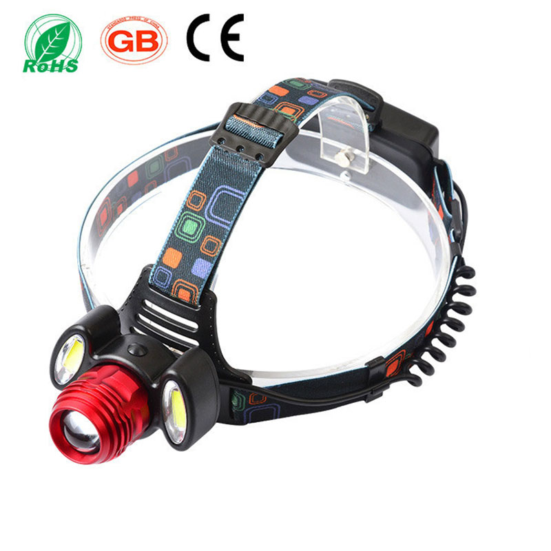 6000lm Hunting 3 LED Headlamp Cree T6 +2 R2 COB Rechargeable Headlight Head Lamp Torch Lantern With 18650 Battery Car-charger