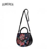 Натуральная кожа женские сумки для женщин Роскошные сумки женские сумки дизайнерские цветы сумки с тиснением Ретро женские кожаные