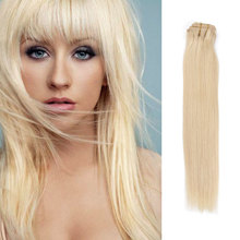 Lightest Blonde #60 Clip In Human Hair Extensions Blonde Hair Clip In Extensions 16″-26″ 120G 10PCS Full Head Clip In Human Hair