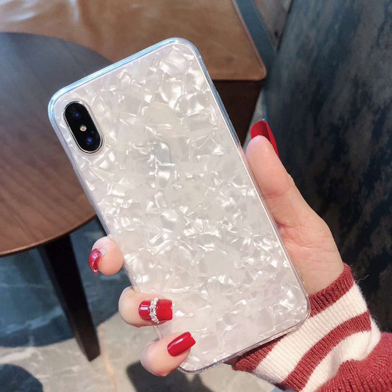 Tfshining Lovely Glitter Conch Pattern Phone Case For iPhone XS Max X XR 6 6s 7 8 Plus Fashion Soft Shell Protective Case Cover in Fitted Cases from Cellphones Telecommunications