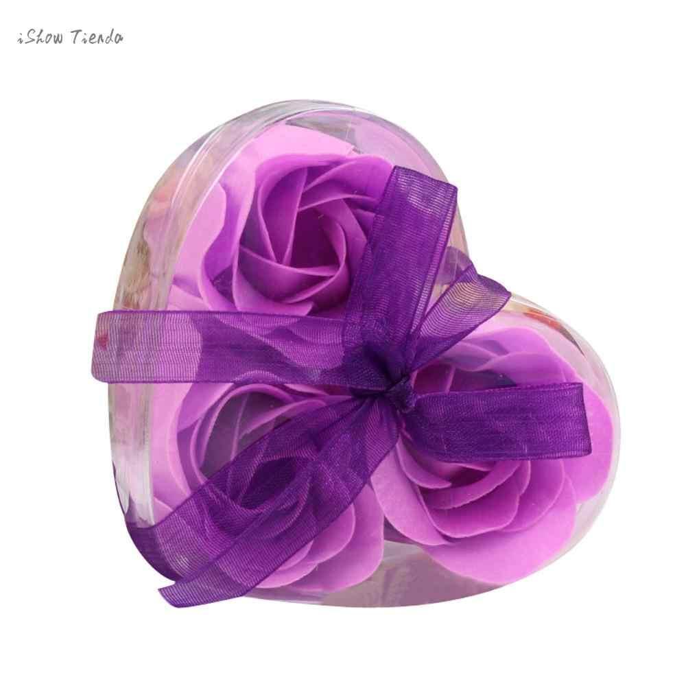 جديد حار 3 قطعة المعطرة زهرة الورد البتلة حمام الجسم الصابون حفل زفاف هدية القلب صندوق الصابون زهرة الورد حفل زفاف ديكور جديد