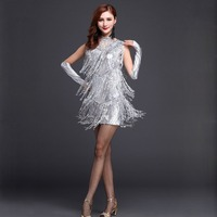 Performance 2018 Women Dance Clothes Salsa Costume 3pcs Set with Necklace Ballroom Competition Latin Sequin Dresses for Girls