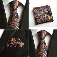Men Mixed Color Paisley Flower Silk Tie Pocket Square