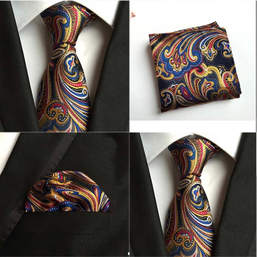 Men Mixed Color Paisley Flower Silk Tie Pocket Square Handkerchief Set Lot HZTIE0108