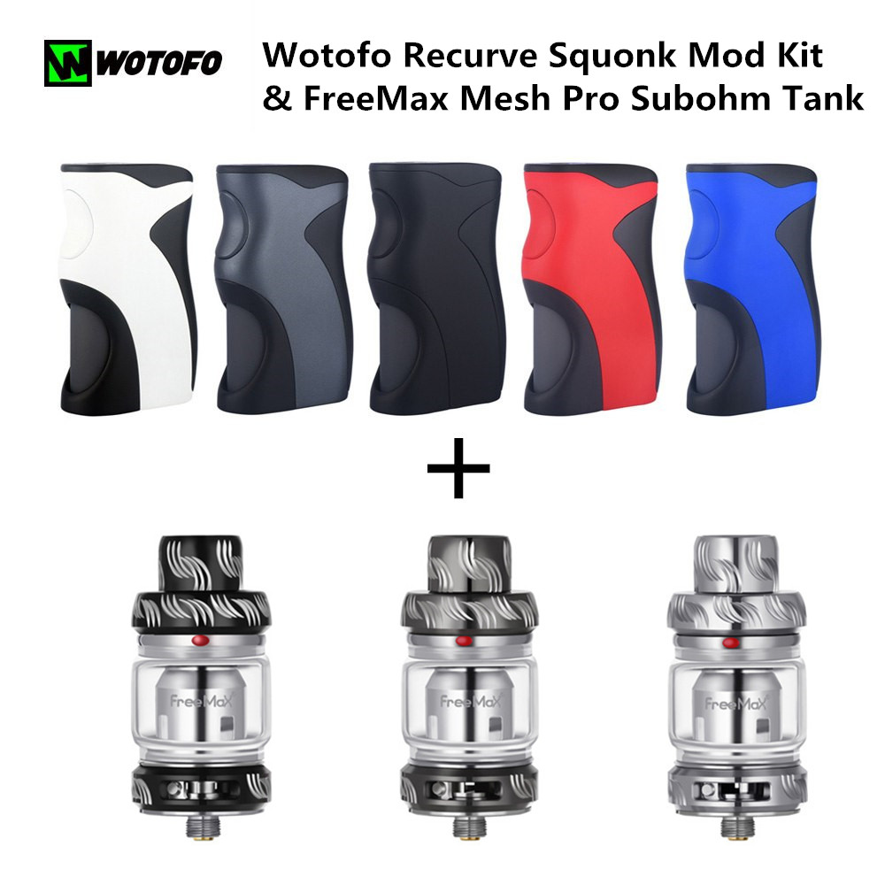 D'origine Wotofo Recurve Squonk Mod Kit & FreeMax Maille Pro Subohm Réservoir 5 ml ajustement 18650 20650 20700 21700 Vape cigarette électronique