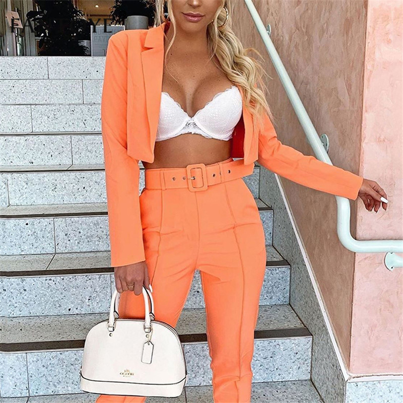 Fantoye Sexy Office Lady Two Piece Set Jumpsuit Women 2019 Summer Autumn Crop Top And Pants Jumpsuit Set Female Casual Suits