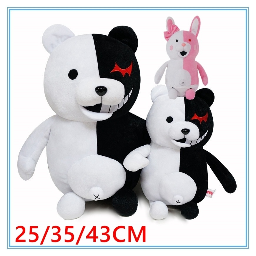 Cute Cartoon Monokuma Bear Soft Plush Toy Black/Pink Anime Dangan Ronpa Stuffed Danganronpa Doll Figure Toys Birthday Gift drawer