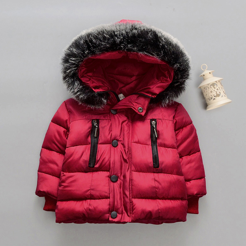 New Fashion Baby Boys Girls Jackets Fur collar Autumn Winter Jacket Kids Warm Hooded Children Outerwear Coat Boys Girls Clothes цена