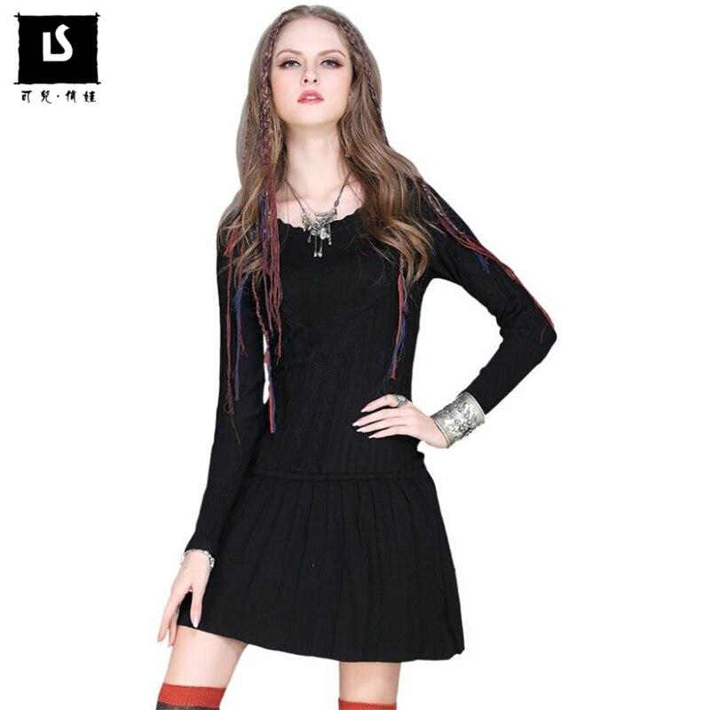 Automne hiver chaud chandail robe rétro robe femmes à tricoter Solide couleur laine plissée robe confortable Chandail robes courtes