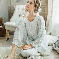 Princess Lace Long Sleeved Women Pajamas Sets Female Cotton Winter Palace Retro Sweet Simple Lace Pyjamas