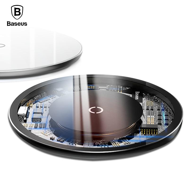 Baseus 10 W Qi cargador inalámbrico para iPhone X Xr Xs Max Glass rápido inalámbrico plataforma de carga inalámbrica para Samsung nota 9 8 Xiaomi mezclar 3