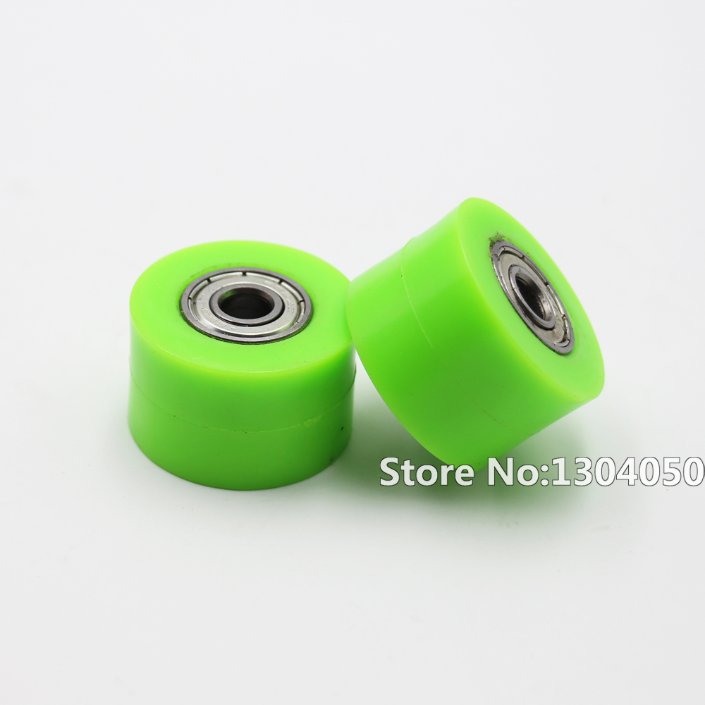2x 8mm Motorcycle Motocross Dirt Bike Chain Roller Tensioner Pulley Wheel Guide GREEN new