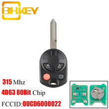 BHKEY OUCD6000022 Remote Car key 4 Buttons Ford Key 315 Mhz For Ford Edge Escape Focus Lincoln Mazda Mercury 4D63 80Bit Chip