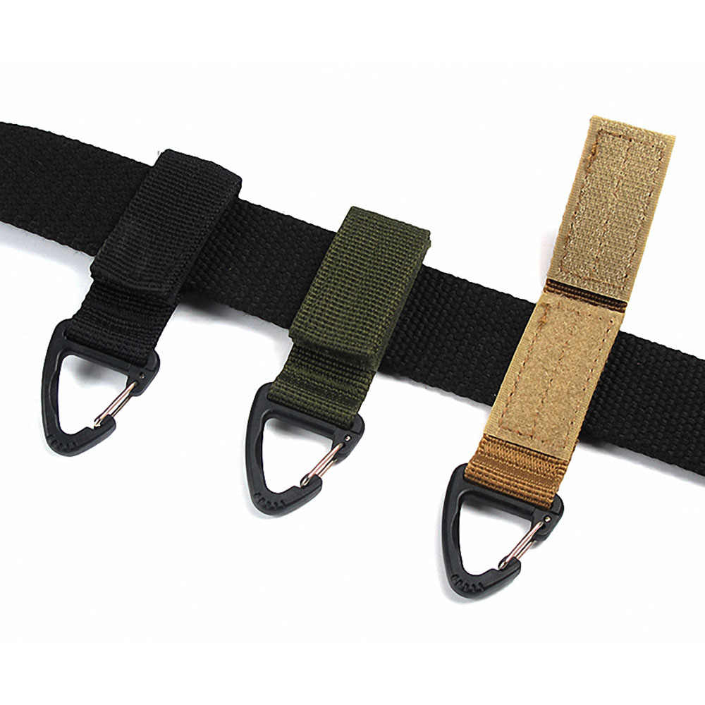 1pc Belt Clip Climbing Carabiner Buckle Camping Molle Webbing High Strength Nylon Backpack Hanging Key Chain Hook Outdoor Tool