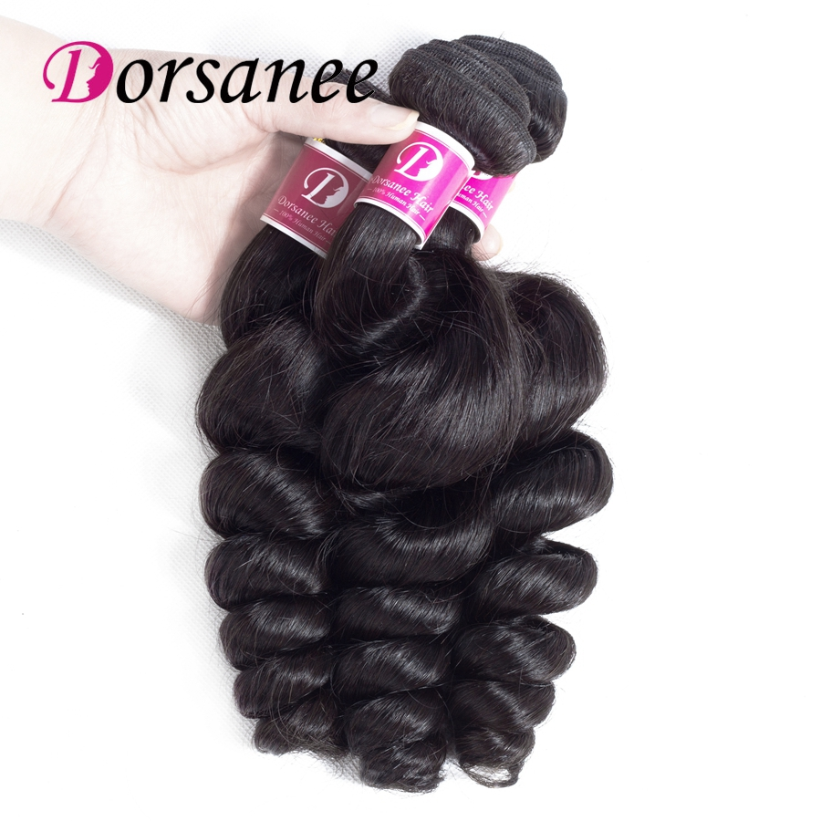 DORSANEE Loose Wave Indian Hair Weave Bundles Human Hair 3 Bundles Deal 8-26Inch Non Remy Hair Natural Color Hair Extension