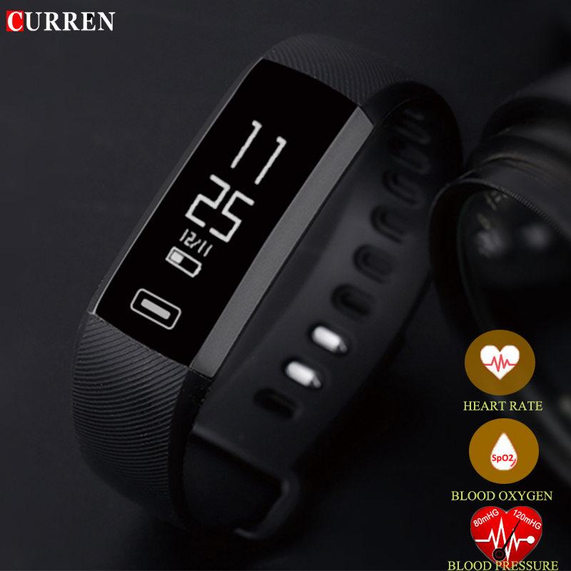 Prix pour D'origine CURREN R5PRO Smart poignet Bande de Fréquence Cardiaque Sang Pression D'oxygène Oxymètre Sport Bracelet Montre intelligente Pour iOS Android