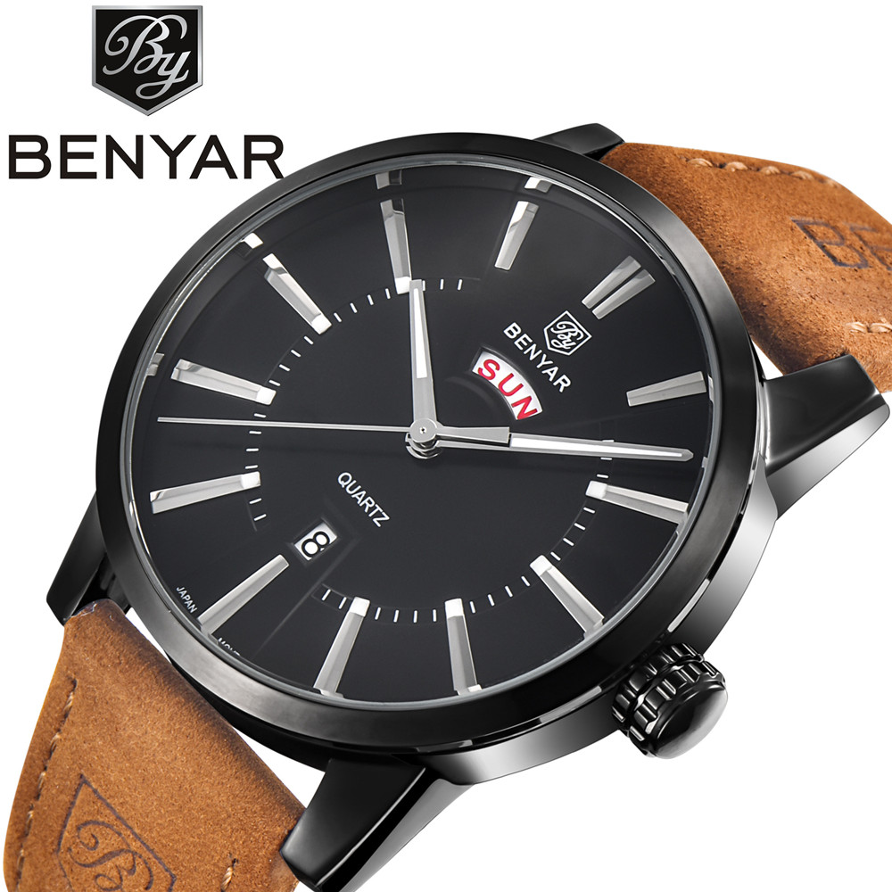 BENYAR Leather Strap Quartz Watch Men Casual Fashion Mens Watches Top Brand Luxury Male Clock Auto Date Wristwatch Montres Homme top brand luxury men watches men s quartz hour date clock male genuine leather strap casual sports wrist watch gold montre homme