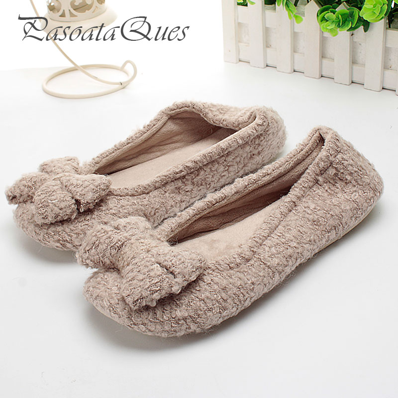Cotton Cute Bowtie Home Slippers Women Indoor Shoes House For Bedroom Adult Slippers Warm Winter Girls Ladies Soft Flats 2016 cute bowtie warm winter women home slippers for indoor bedroom house soft bottom shoes adult gusets flats christmas gift
