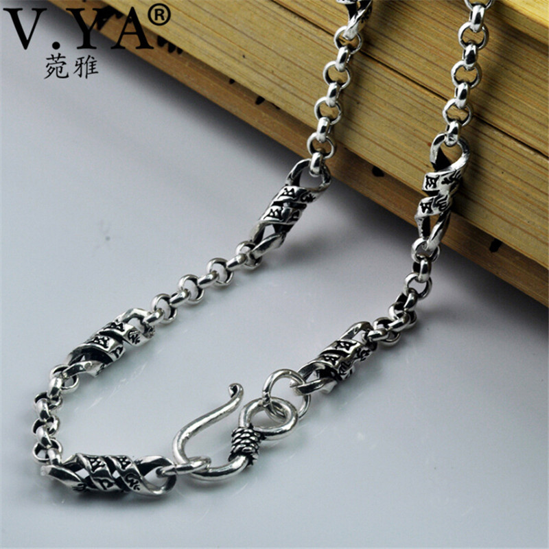 V.YA 2018 New Style Solid 925 Sterling Silver Chains Necklaces For Men Male 100% Thai Silver Mens Chain Birthday GiftsV.YA 2018 New Style Solid 925 Sterling Silver Chains Necklaces For Men Male 100% Thai Silver Mens Chain Birthday Gifts