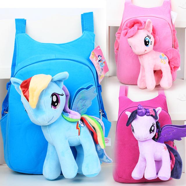 Meu pequeno bonito poni sacos de escola das crianças dos desenhos animados mochila de pelúcia pequeno