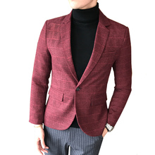 British Men Blazer Autumn New Plus Size M-5XL Plaid Wedding Male Fashion Slim Fit Long Sleeved Business Casual Dress Suit Jacket autumn summer new women shirt dress long sleeved female dresses slim fashion party office lady sundress plus size casual rob