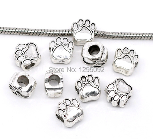 100Pcs Silver Tone Dog s Paw Animal Spacer European Beads Fit Charms Bracelets Jewelry Charms Component Wholesale 11x11mm