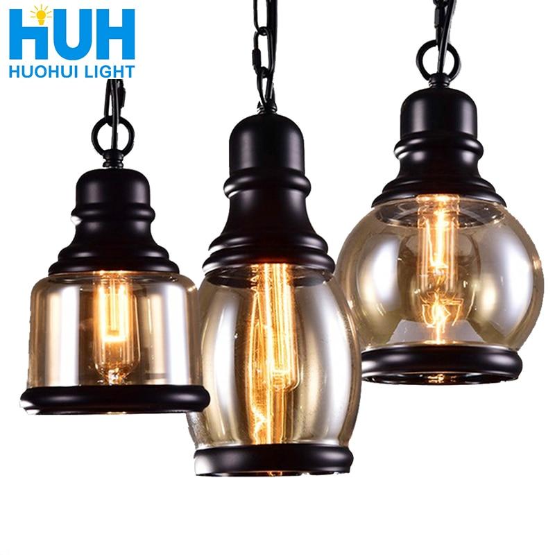 Vintage Loft Pendant Light Industrial Style Amber Glass Lamp Bar/Restaurant Retro Room Bar Bed Room 3 Style Pendant Light
