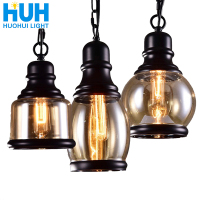 Vintage Loft Pendant Light Industrial Style Amber Glass Lamp Bar/Restaurant Retro Room Bar Bed Room 3 Style Pendant Light