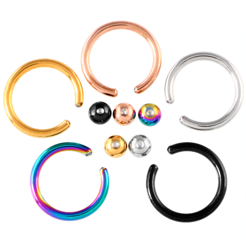 10pcs/lot Captive Ring Steel Captive Bead Ring Circular Piercing BCR Nose Ring Ear Tragus Septum Rings Body Jewelry Piercing