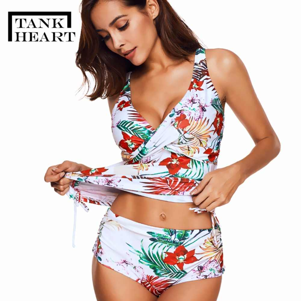 f82cd8e688 Tank Heart Floral Plus Size Swimwear Women Push up Bikini Set Tankini Set Two  Piece Swimsuit