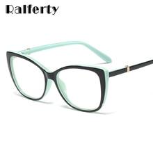 Ralferty, роскошные очки для глаз, для женщин, кошачий глаз, оправа, очки TR90, прозрачные линзы, с пружинными ножками, оптические очки F93331