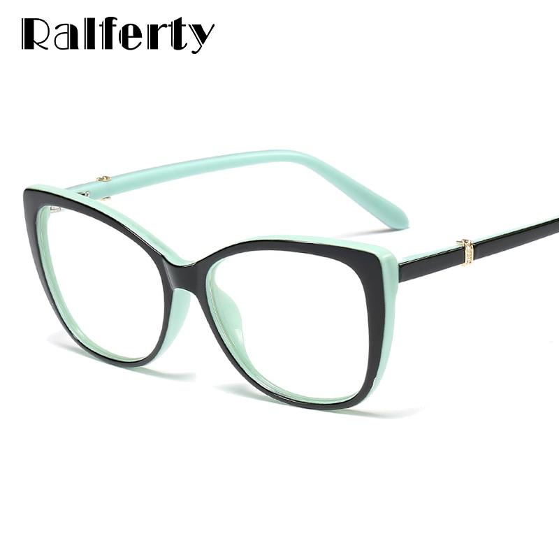Ralferty 2019 Luxury Eye Glasses Women Cat Eye Frame Eyeglasses TR90 Clear Lens With Spring Leg Optic Spectacle Eyewear F93331