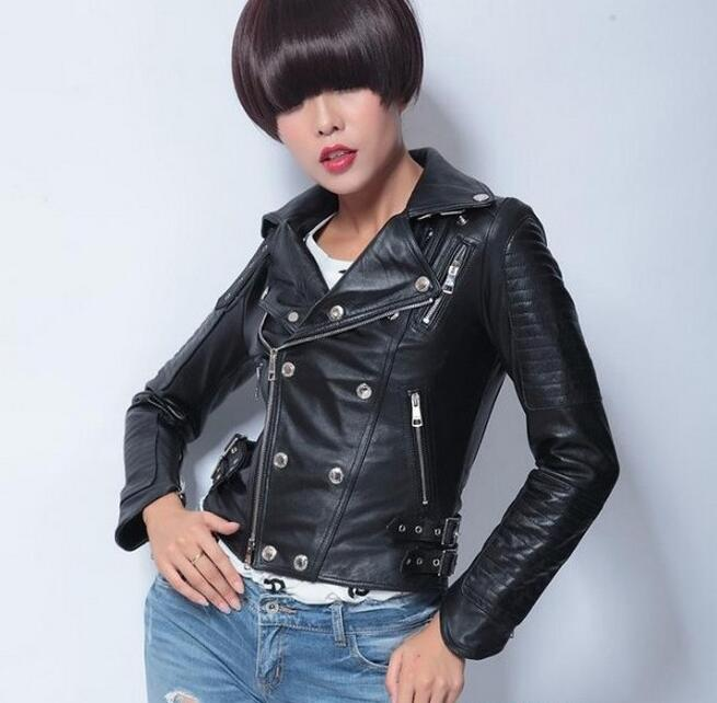 Black High quality real leather jacket motorcycle clothing genuine leather jackets female women sheep skin coat