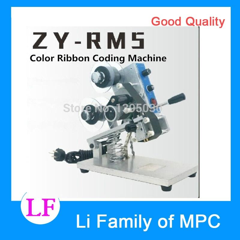 1 pièces ZY-RM5 couleur ruban chaud Machine d'impression chaleur ruban imprimante Film sac Date imprimante manuel codage Machine