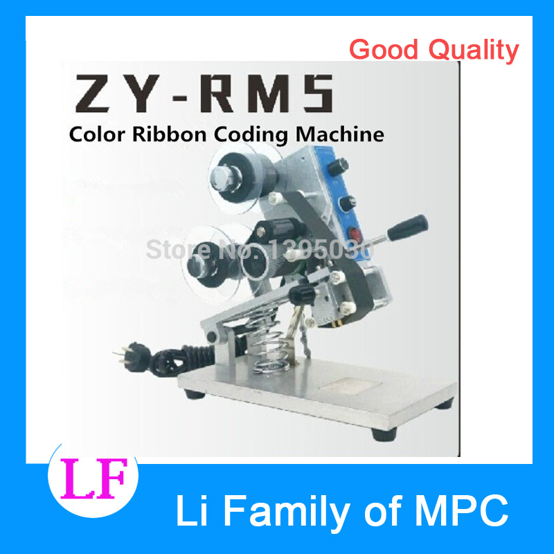 1pcs ZY-RM5 Color Ribbon Hot Printing Machine Heat Ribbon Printer Film Bag Date Printer Manual Coding Machine zy rm5 c hot printing machine date code ribbon printer hot foil stamping machine