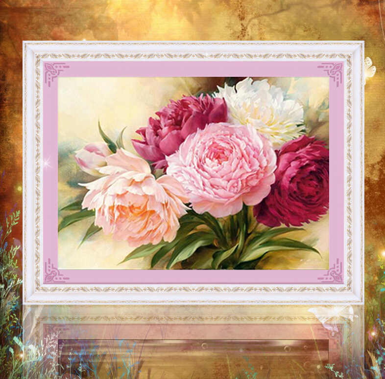 Diy 5d Diamond Painting Peony Flower Diamond Embroidery Set Diamond Mosaic Home Decorative Beauty Gift