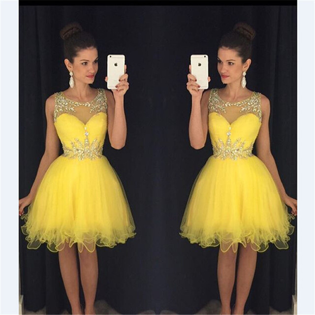 Short Homecoming Dresses 2016 A Line Scoop Beaded Neck Crystals Pleats Short Yellow Tulle Organza 8th grade prom dresses