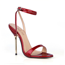 Plus Size Superstar Women Sandal High Heel  Snake Ankle Strap Shoes Pearl PU Buckle 12cm Summer Style Sexy Wedding Shoes 3845-i9 new europe popular street beat rivet shoes high heeled catwalk sexy rome ankle buckle strap pu heel 12cm woman pumps 6368w