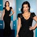Kim Kardashian alfombra roja se viste sirena negro con lentejuelas con cuentas de encaje celebridad vestidos 2016 personalizada hecho vestido Formal largo